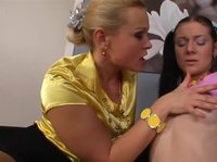 Blonde private tutor is helping a barely legal brunette
