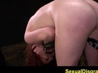 Redhaired slut can't cum til she is hurt