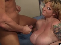Huge fat milf allows this dude to cum all over her enormous tits