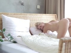 Sexy Young Blonde Spread her Cheeks to Welcome Cock