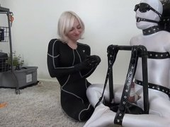 Blonde Mistress Experiments with her Slave