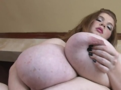 Real big BBW fondles her enormous breasts
