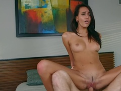 Pretty girl with long black hair rides a dick into sunset