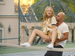 Big tennis teacher takes out his big penis