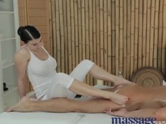 Professional masseuse uses her feet to seduce her client