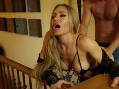 Thin housewife fucks a neighbor when her husband is out