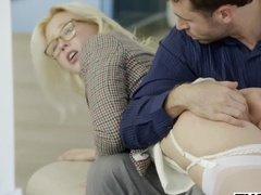 Molly Quinn lookalike gets spanked by her hot boss