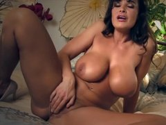 Mature lady with great tits touches herself in all the right places