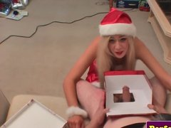 Christmas slut gets a dick as a present