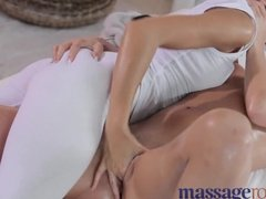 Oily masseuse gets her client a full body massage