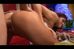 Horny housewife fucks with Santa