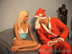 Santa brings this blonde the gift of anal
