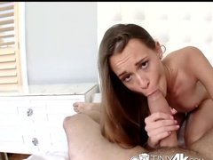 Small thin girls does everything to get this huge dick into herself