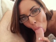 Hot girl wearing glasses fucks a total stranger