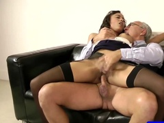 Slutty maid makes some side money by fucking her boss